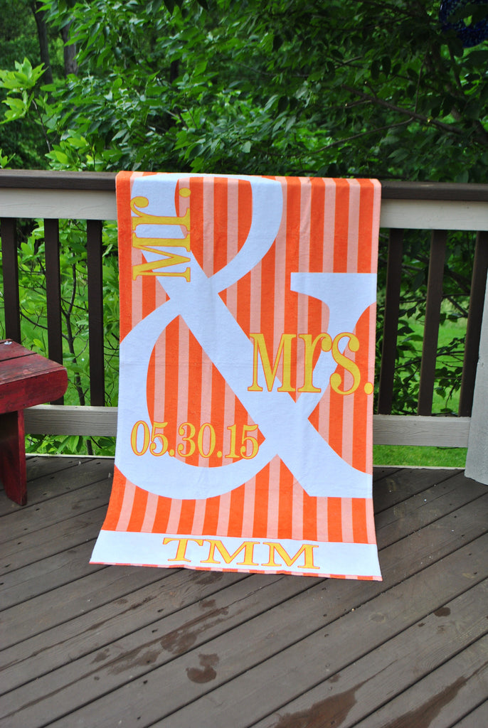 Beach Towel - Style #52092 Stripe MR & MRS Print