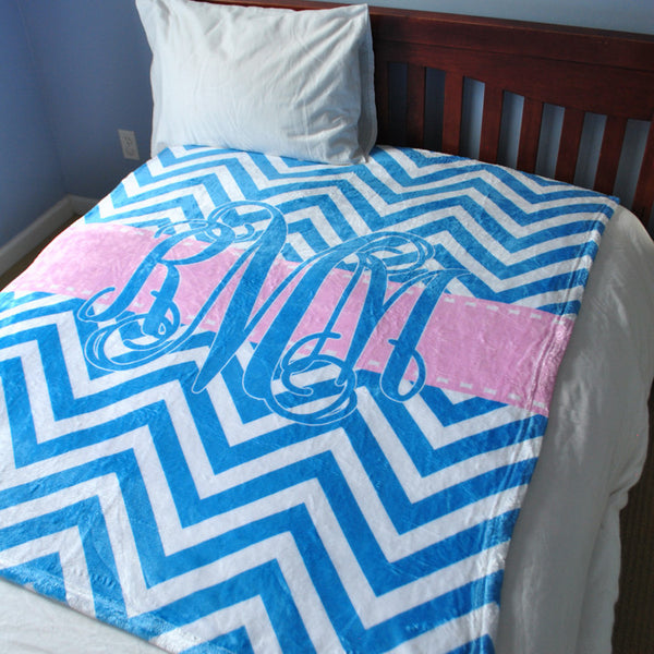 Fleece Throw Blanket - Style #56023 Chevron Print