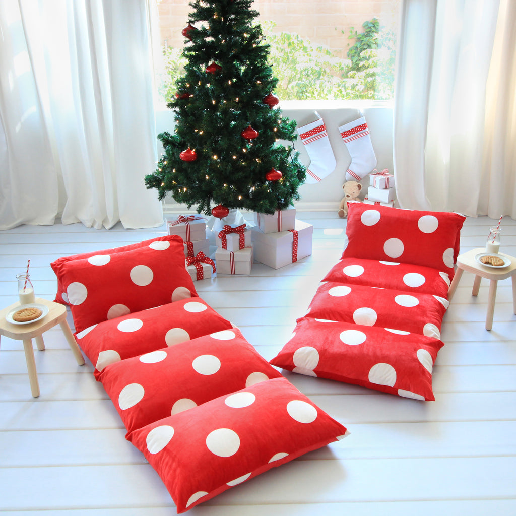 Pillow Bed -Red Polka Dot Print