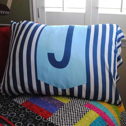 Pillowcase - Stripe Navy Initial Print