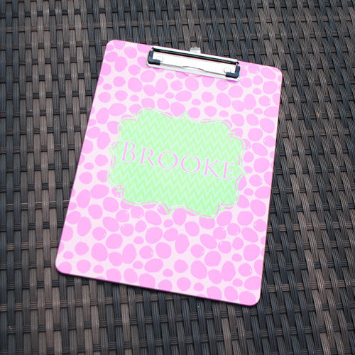 Clipboard - Cheetah Pink Flair Lt. Green Print