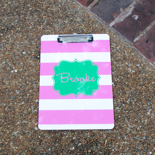 Clipboard - Pink Preppy Stripe Print