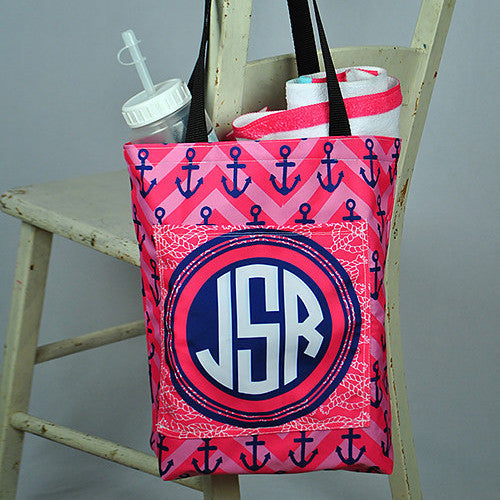 Pocket Beach Bag - Anchor Pink