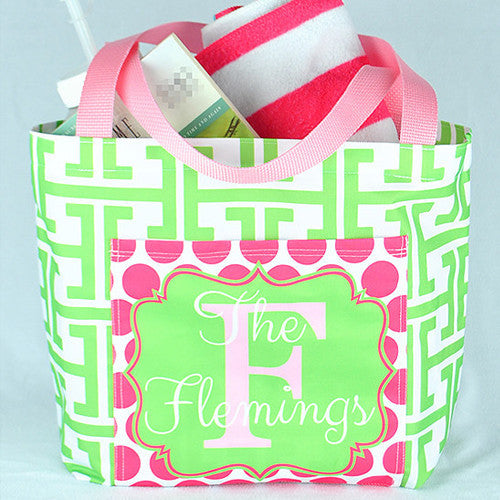 Pocket Beach Bag - Lime & Pink Greek Key