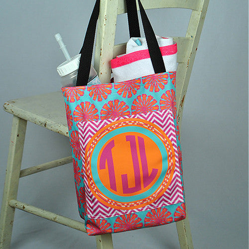 Pocket Beach Bag - Tropical Flower Chevron Print