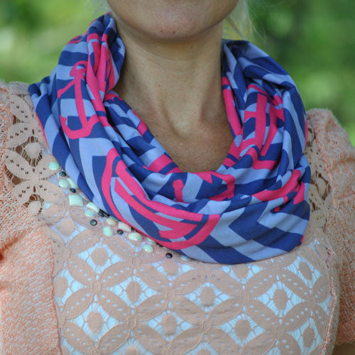 Adult Infinity Scarf - Navy Blue Chevron Hot Pink Anchor Mono Nautical Print