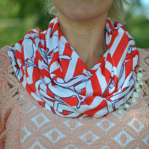 Adult Infinity Scarf - Red & White Chevron Navy Bird St. Louis Monogram Print