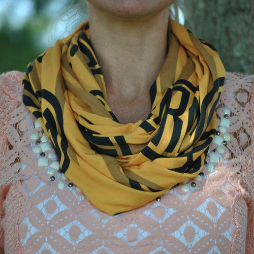 Adult Infinity Scarf - Gold & Black Paws Monogram Print