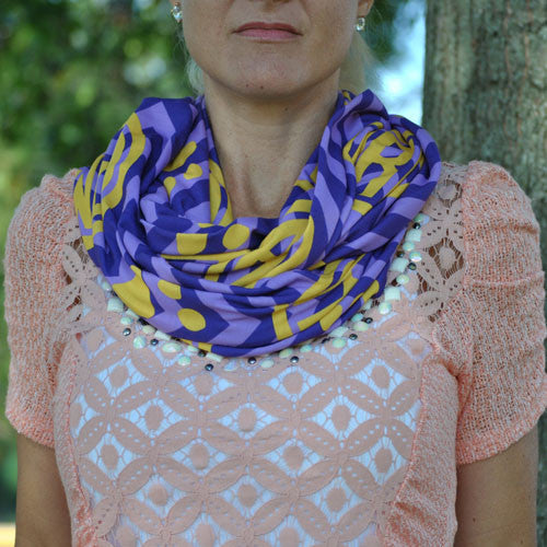 Adult Infinity Scarf - Purple & Gold Paw Monogram Print