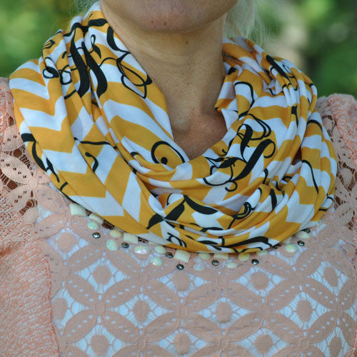 Adult Infinity Scarf - Gold & White Chevron Black Monogram Print
