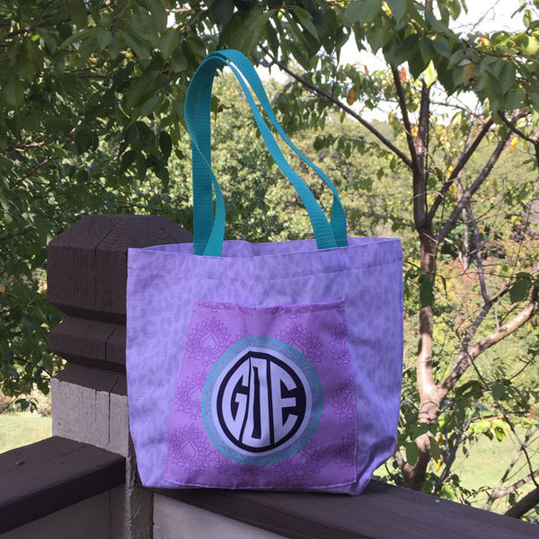 Pocket Tote - Style #411008 Eleanor Purple Print