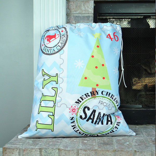 Personalized Present Bag - Style #72008 Holiday Print