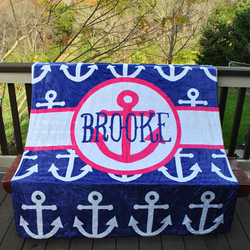 Fleece Throw Blanket - Style #56094 Anchor Print