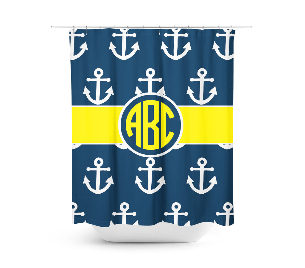Yellow Anchor Shower Curtain August Lane