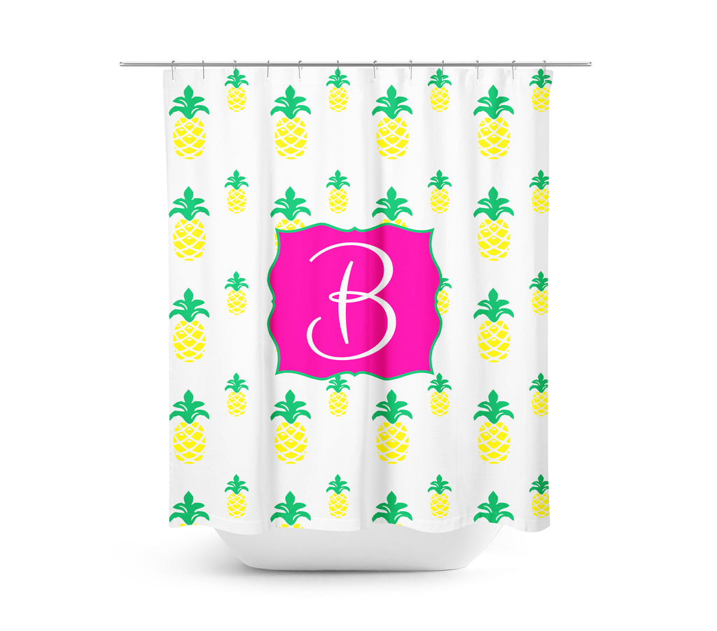 Pink & Pinapple Shower Curtain
