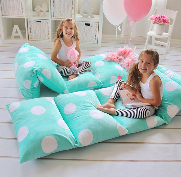 Pillow Bed - Teal with Polka Dots