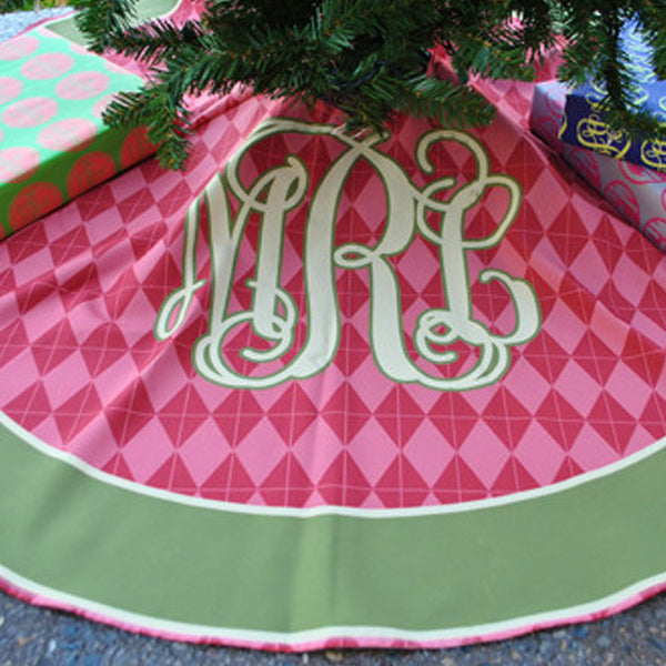 Personalized Tree Skirt - Style #73001 Argyle Monogram Print