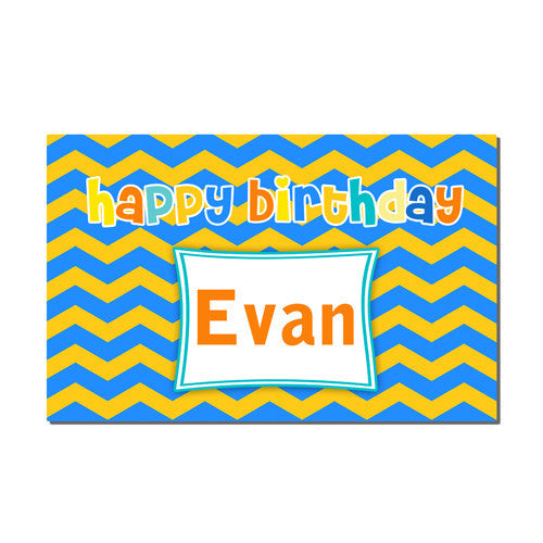 Neoprene Placemat -  Birthday Blue and Yellow Print