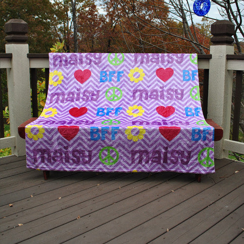 Fleece Throw Blanket - Peace Love BFF Print