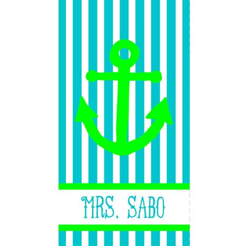 Beach Towel - Style #52090 Stripe Anchor Print