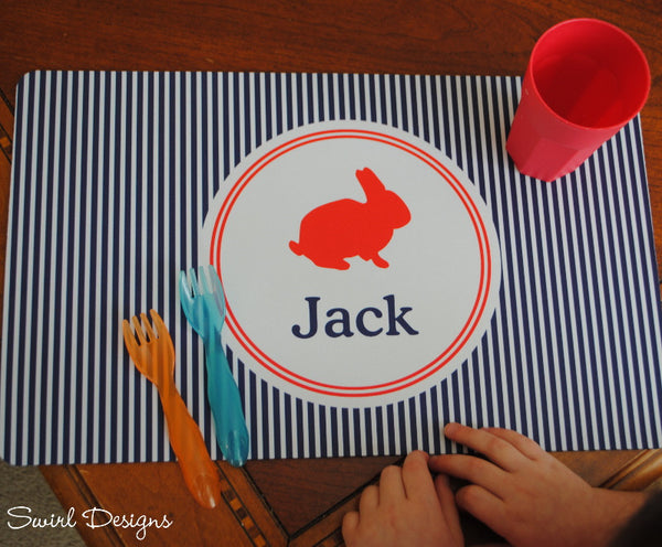 Neoprene Placemat-Easter Navy Stripe
