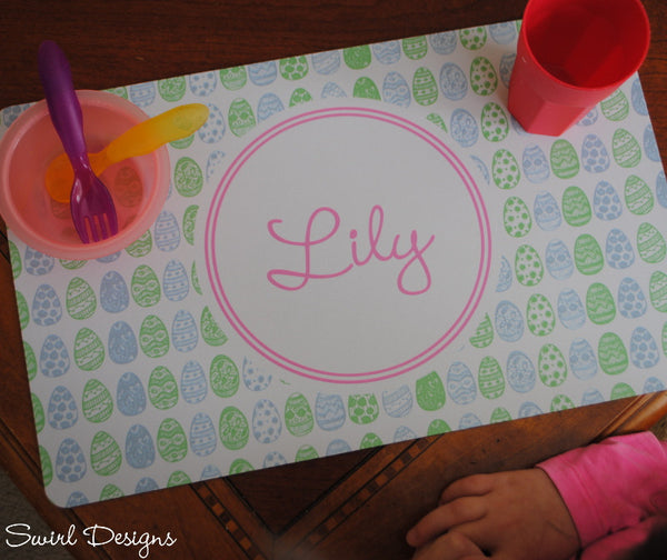 Neoprene Placemat-Easter Pink Eggs