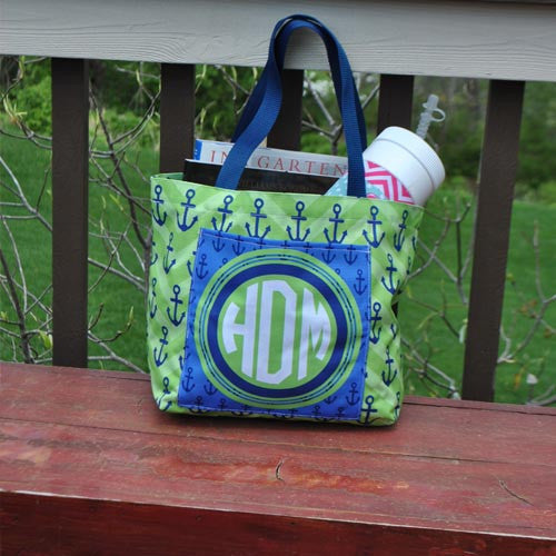 Pocket Beach Bag - Chevron Green Anchor Blue