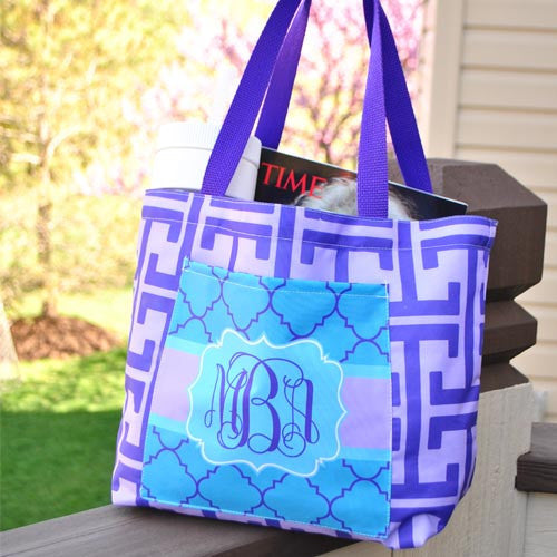 Pocket Beach Bag - Greek Key Purple & Turquoise
