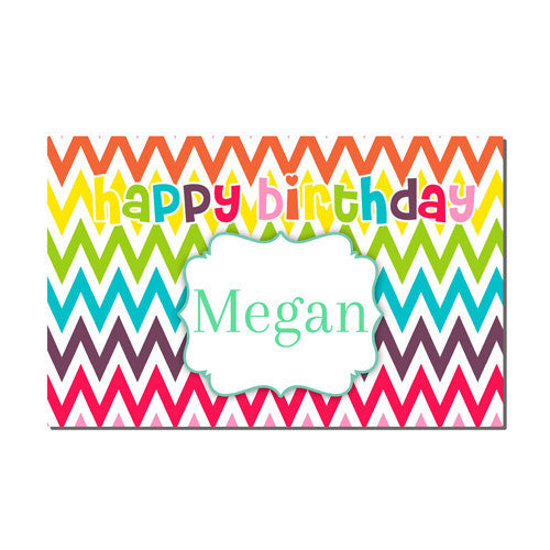 Neoprene Placemat -  Birthday Rainbow Print