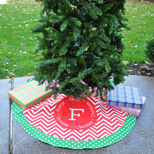Personalized Tree Skirt - Style #73002 Chevron Family Names Print