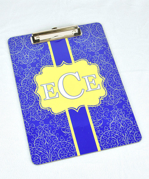 Clipboard - Damask Navy Flair Yellow