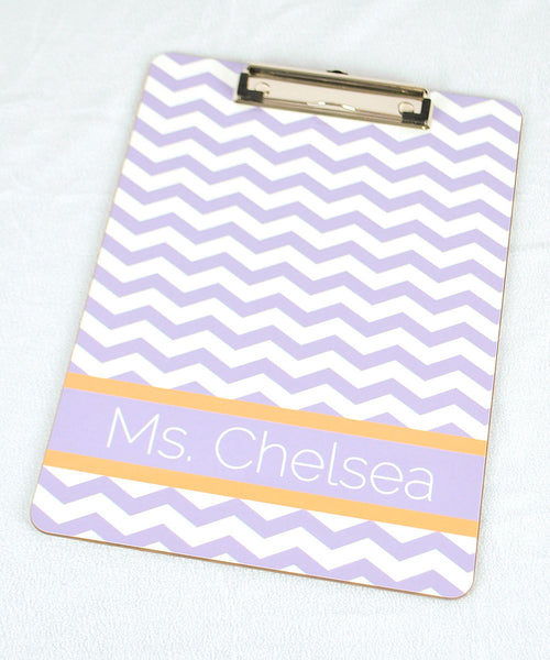 Clipboard - Chevron Lilac Stripe Orange