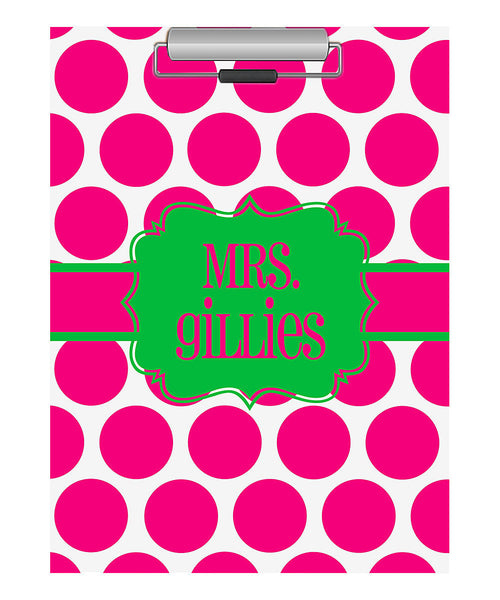 Clipboard - Large Hot Pink Dot Flair Lime