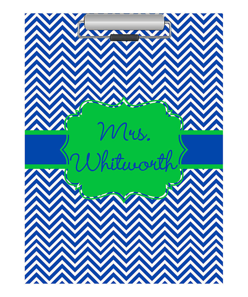 Clipboard - Chevron Navy Flair Lime