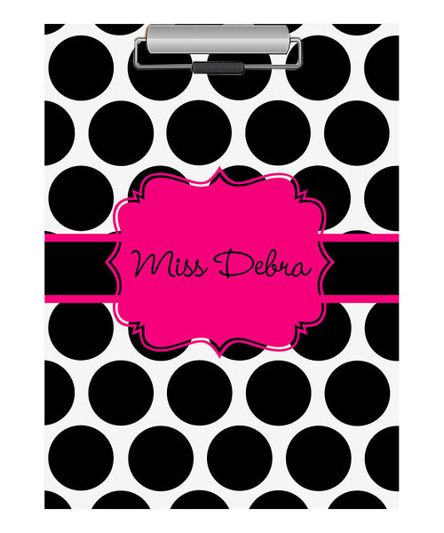 Clipboard - Large Dot Black Flair Hot Pink