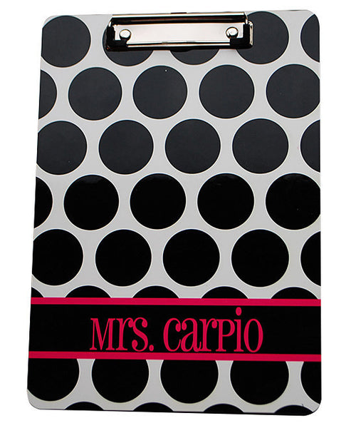 Clipboard - Large Black Dot Stripe Hot Pink