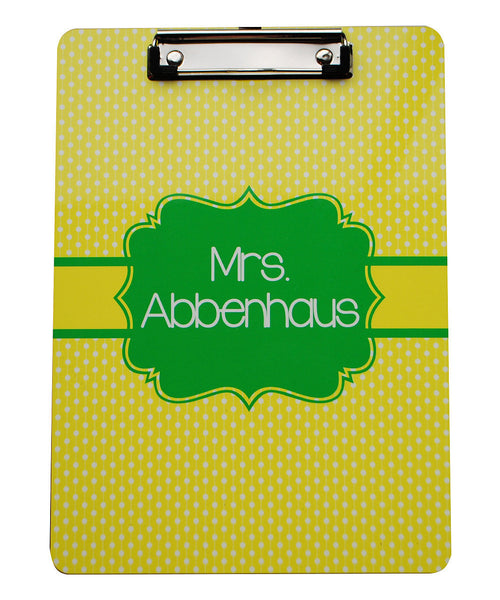 Clipboard - Polkadot Yellow Flair Lime