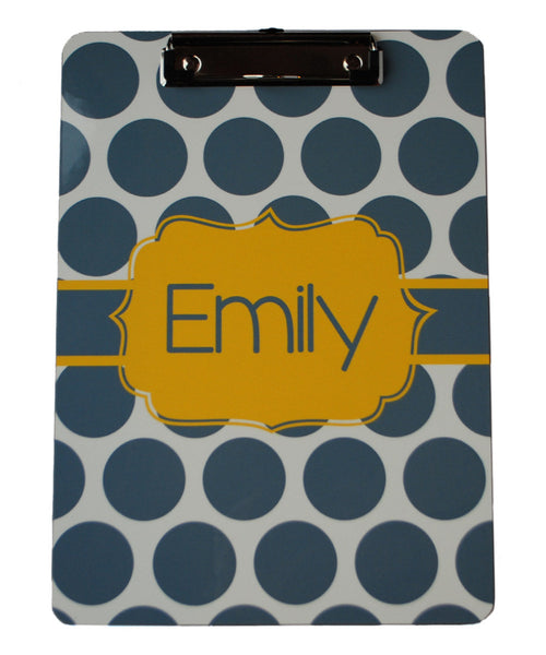 Clipboard - Large Dot Gray Flair Gold