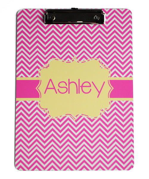 Clipboard - Chevron Hot Pink Flair Yellow