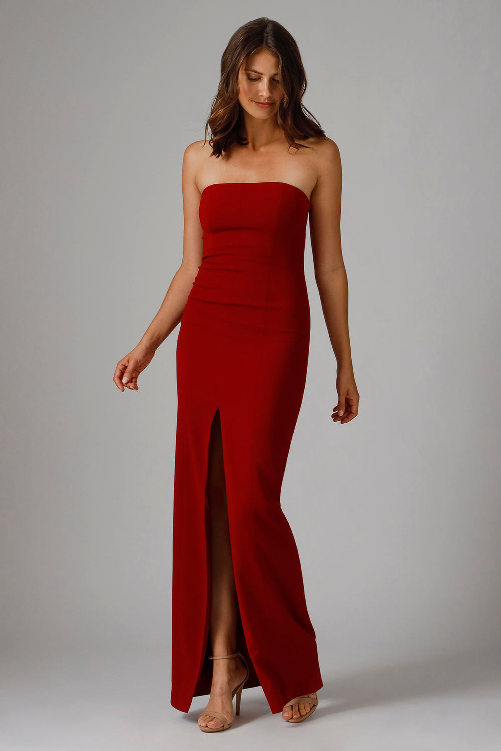 Jay Godfrey MARTELL STRAPLESS GOWN in Venetian Red