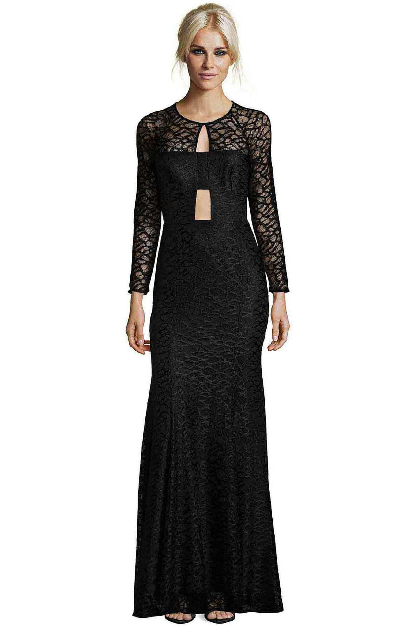 Jay Godfrey Black Lace Cut-Out Gown - Front View
