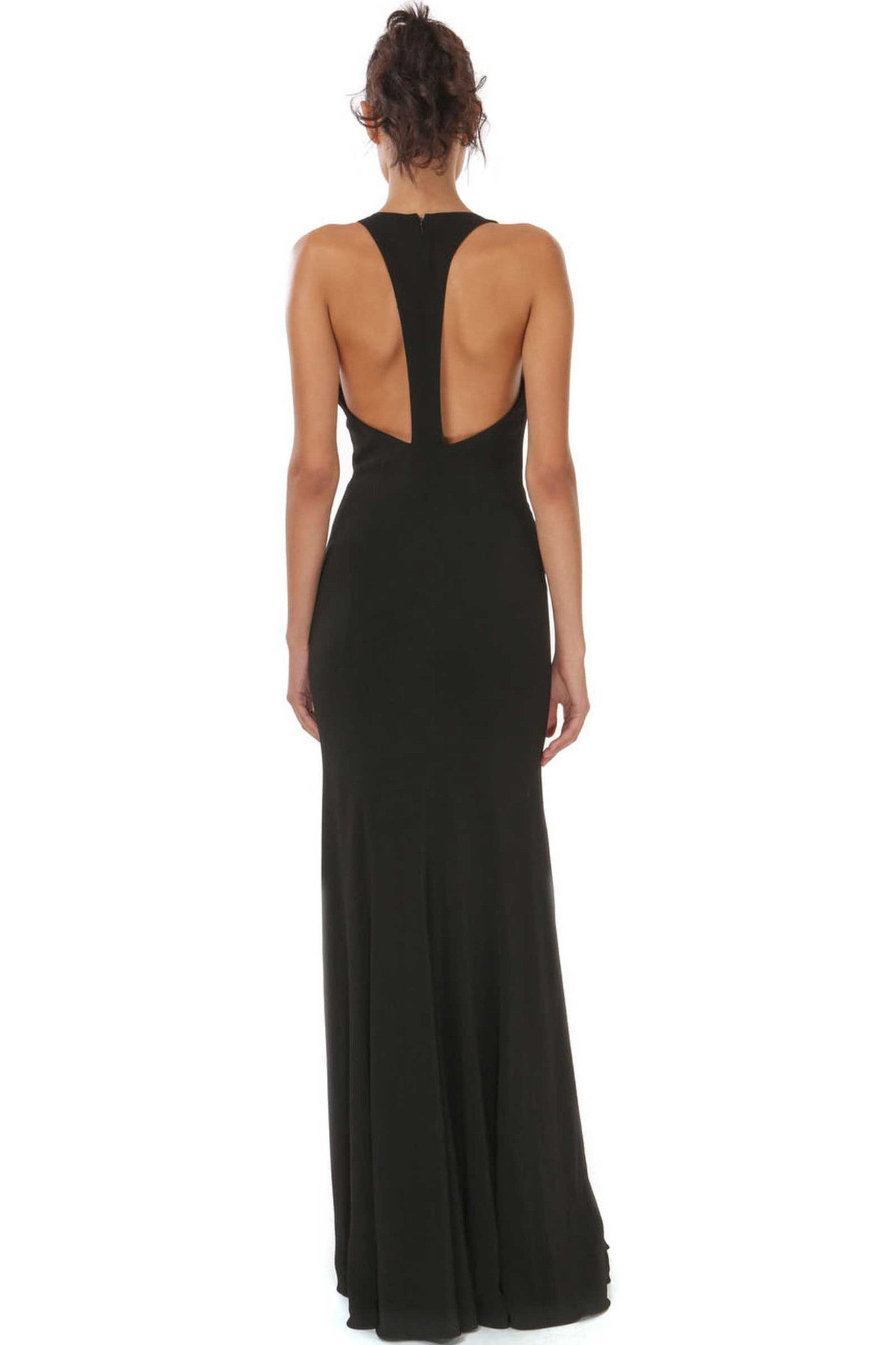 Jay Godfrey Deep V Neck Black Gown - Back View