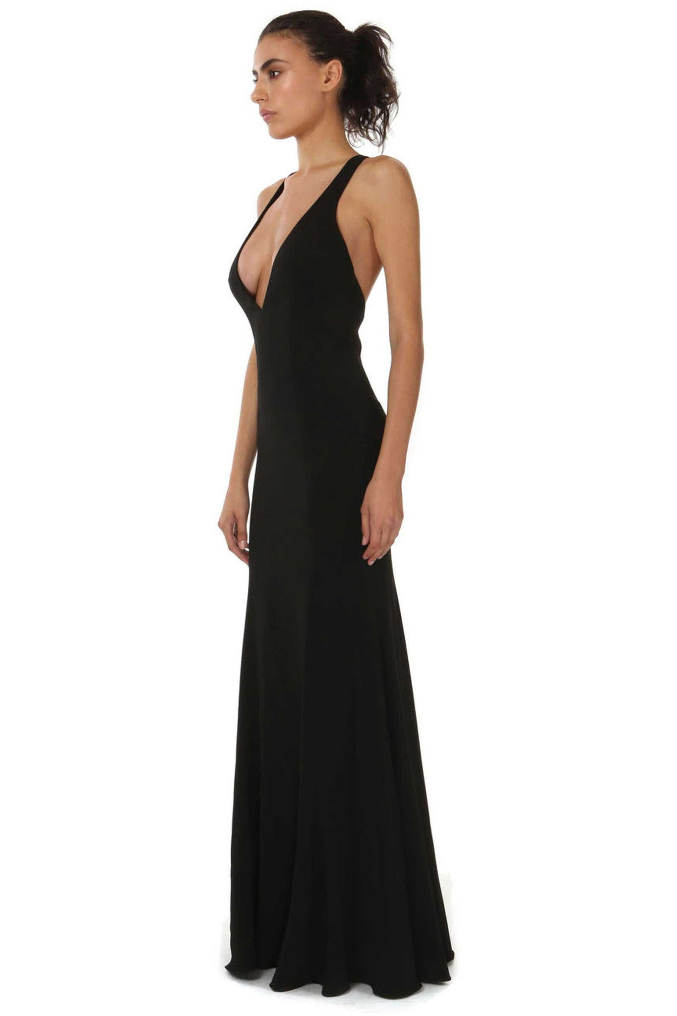 Jay Godfrey Deep V Neck Black Gown - Side View