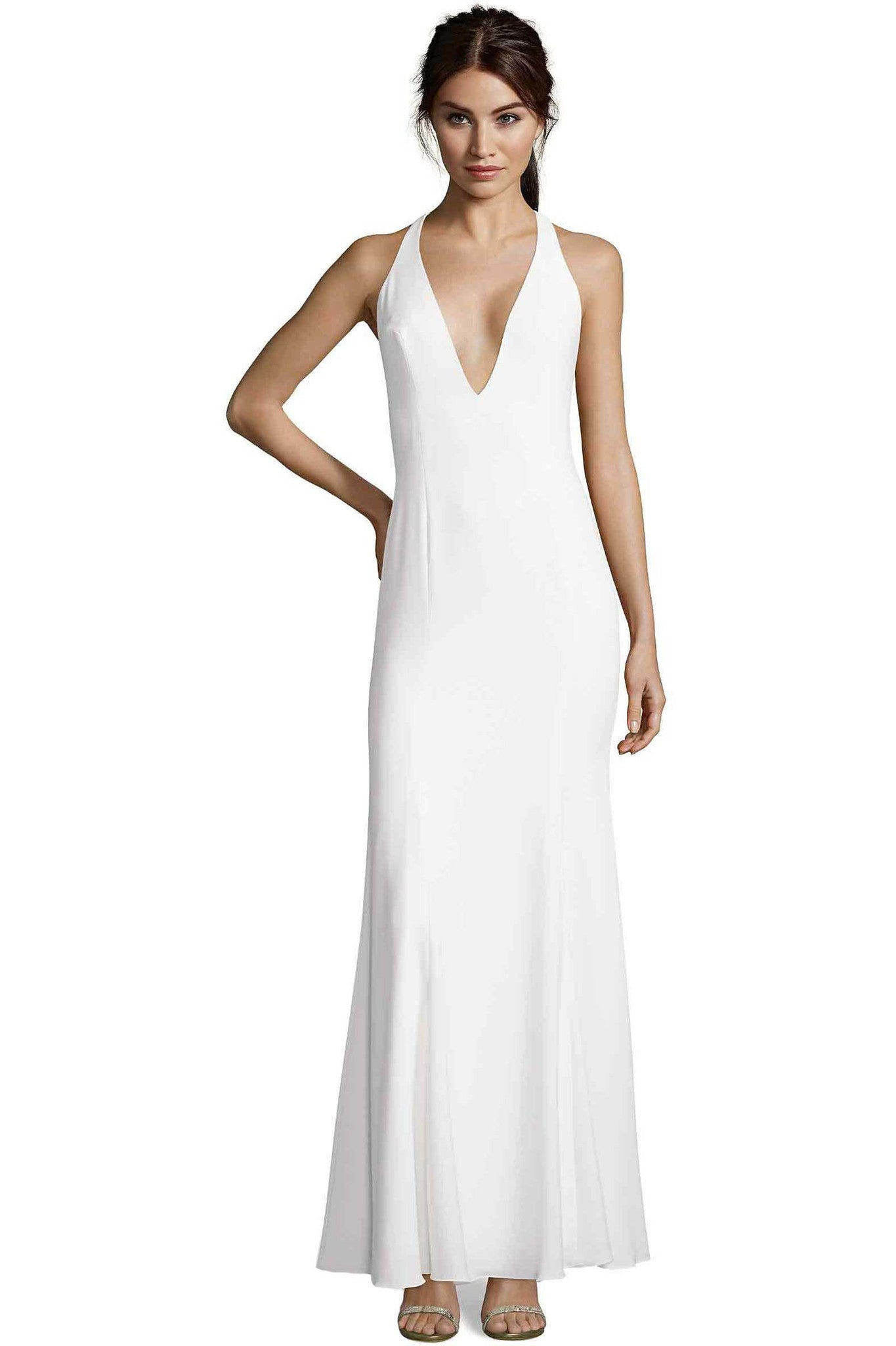 Jay Godfrey Deep V Neck Ivory Gown - Front View