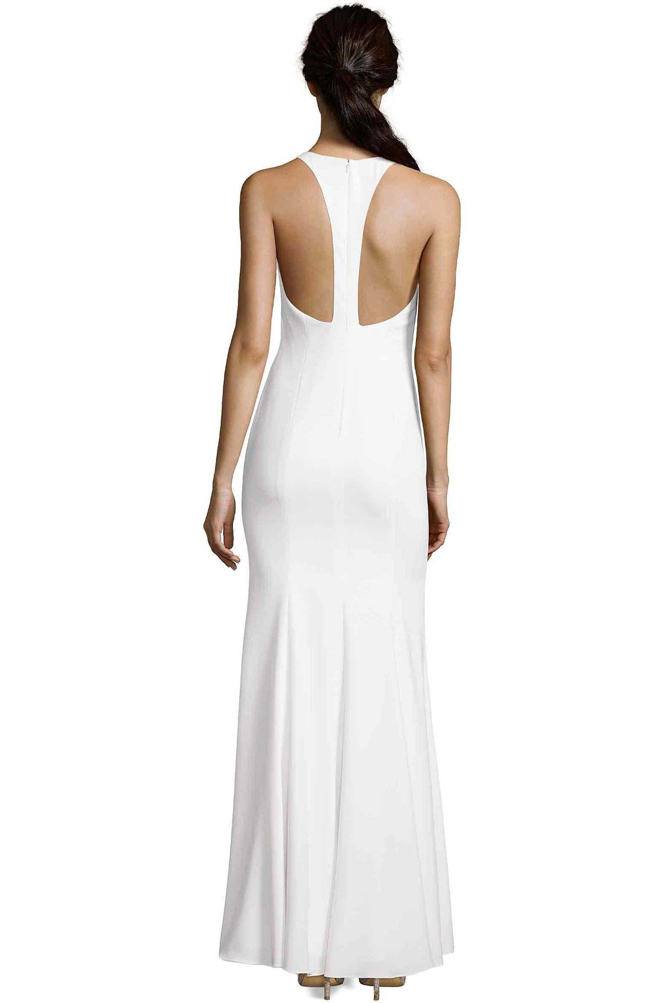 ABBOTSFORD DEEP V NECK IVORY DRESS