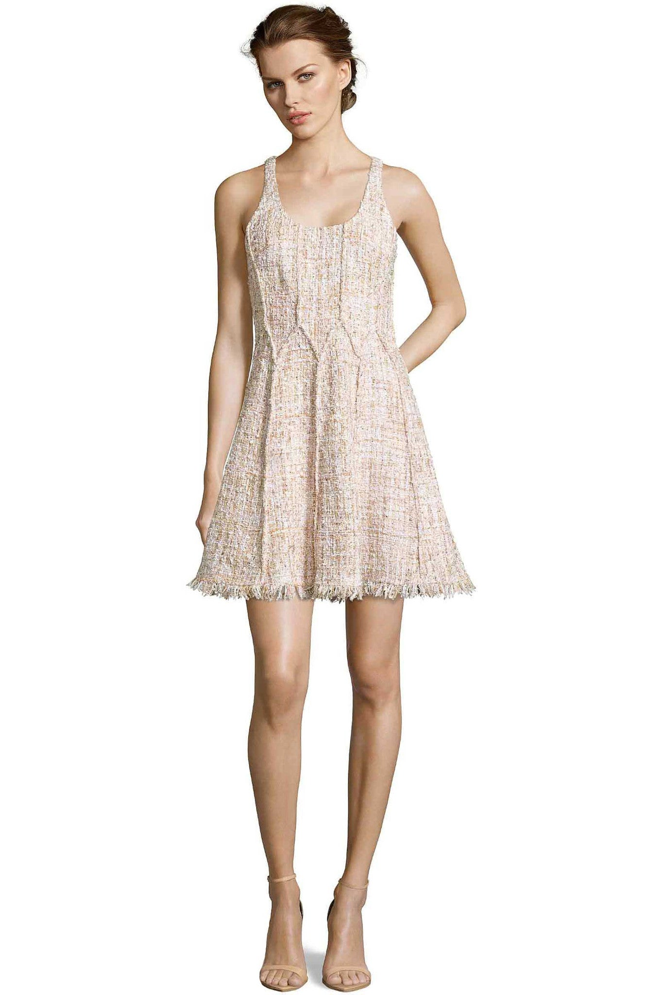 Jay Godfrey Blush Tweed Fit-and-Flare Dress - Front View