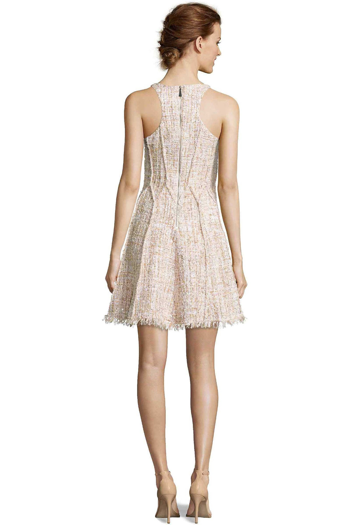 Jay Godfrey Blush Tweed Fit-and-Flare Dress - Back View