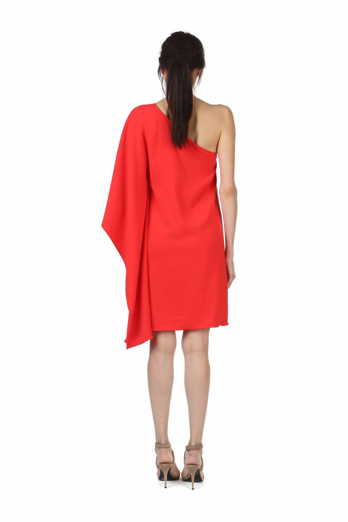 Jay Godfrey Coral One-Shoulder Kimono Dress - Back View
