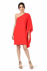 Jay Godfrey Coral One-Shoulder Kimono Dress - Front View