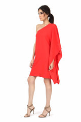 Jay Godfrey Coral One-Shoulder Kimono Dress - Side View